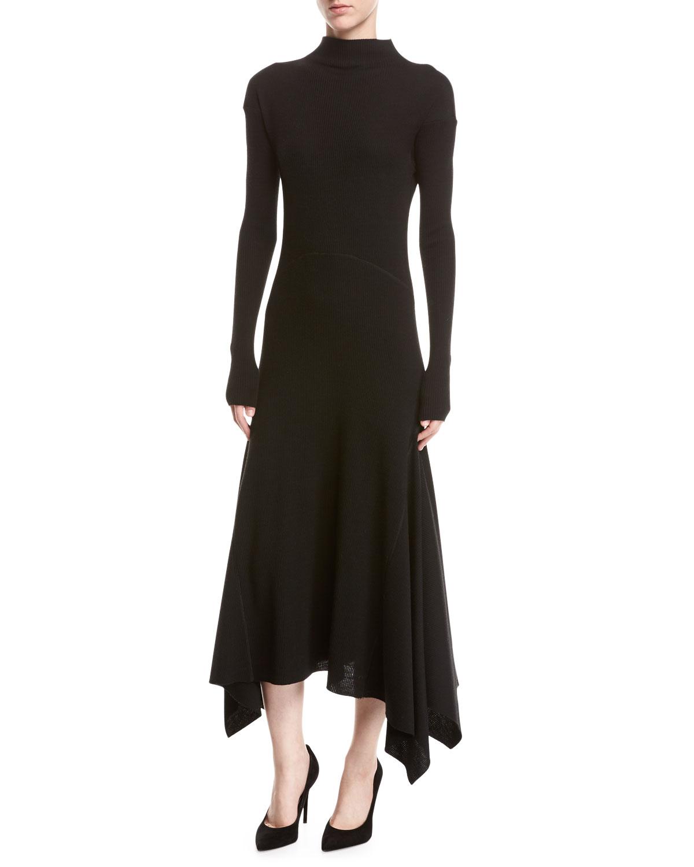 a793d8fd11c Theory Rib-Knit Panel Handkerchief-Hem Sweater Dress