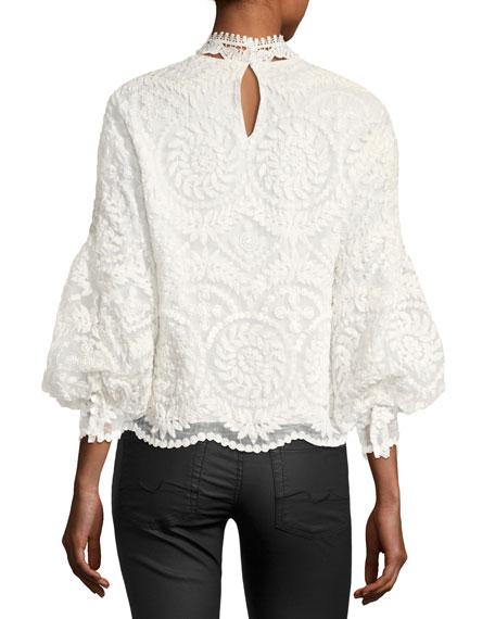 Yadira Bishop-Sleeve Silk Lace Blouse