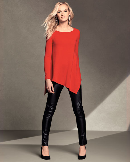 Long Asymmetric Crewneck Cashmere Pullover