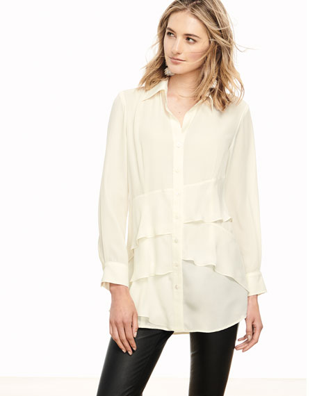 Jenna Tiered Crepe Blouse, Plus Size