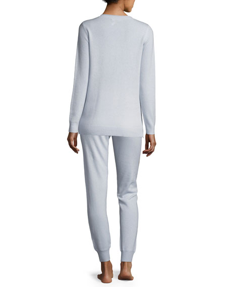 Side-Zip Cashmere Crewneck Sweater & Jogger Pant Lounge Set