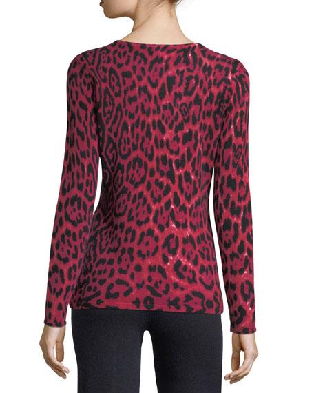 Leopard-Print Cashmere Crewneck Pullover