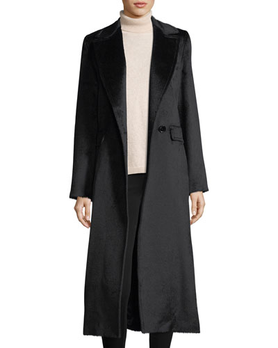 Notched-Lapel Wrap Baby Suri Alpaca Duster Coat