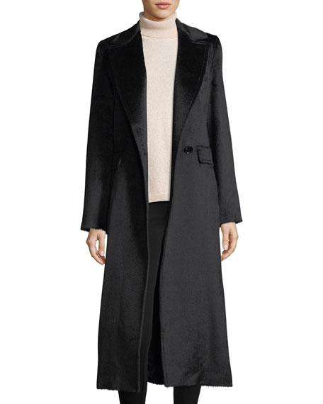 Sofia Cashmere Notched-Lapel Wrap Baby Suri Alpaca Duster Coat