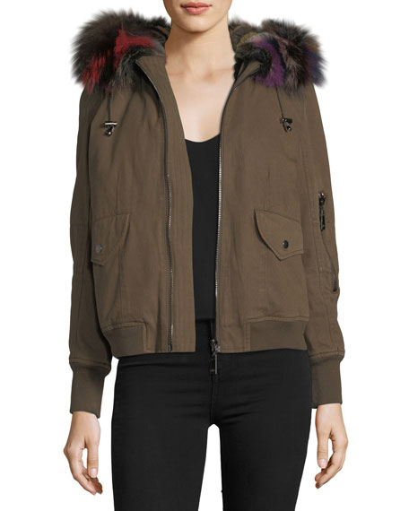 Hooded Canvas Bomber Jacket w/ Fur Trim