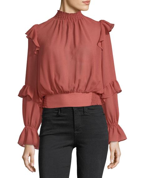 FRAME High-Neck Long-Sleeves Ruffled Smocked Chiffon Top