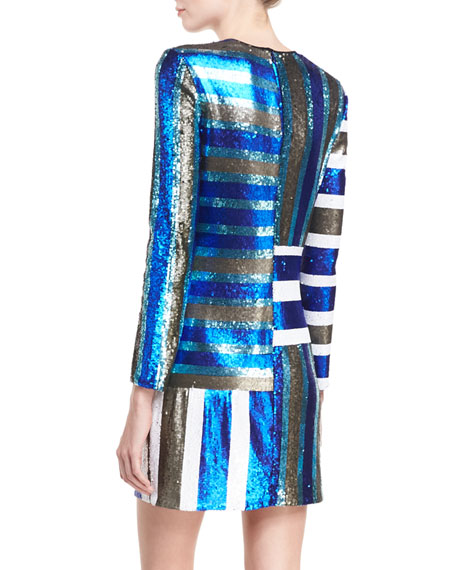 Long-Sleeve Crewneck Sequin Mini Cocktail Dress