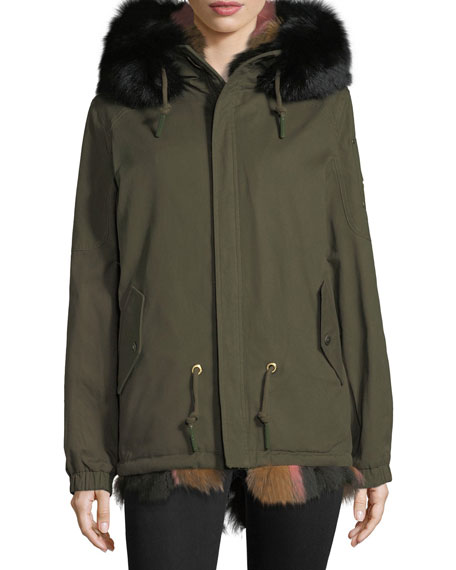 St. Fabien Reversible Anorak Jacket w/ Multicolor Fur