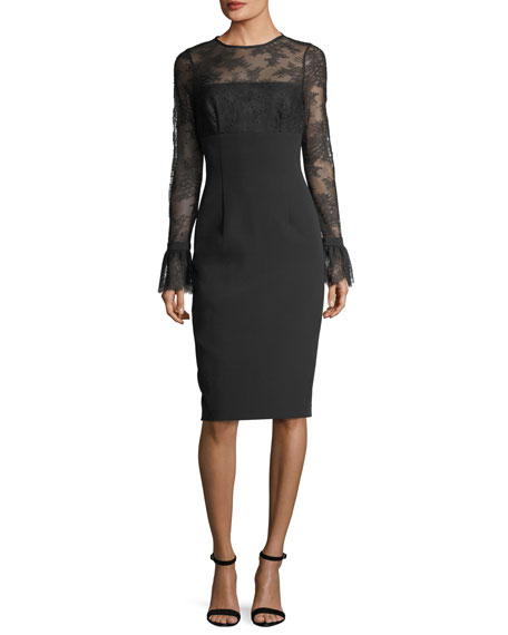 David Meister Trumpet-Sleeve Tattoo Lace Sheath Cocktail Dress