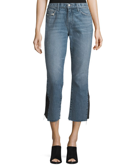Current/Elliott The Kick Mid-Rise Straight-Leg Jeans w/ Insert