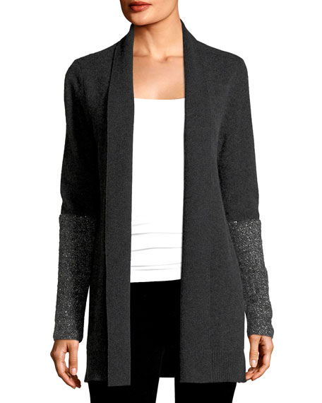 Neiman Marcus Cashmere Collection Open Cashmere Cardigan w/