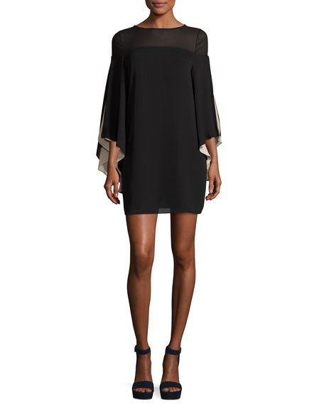 Halston Heritage High-Neck Flowy-Sleeve Chiffon Cocktail Dress