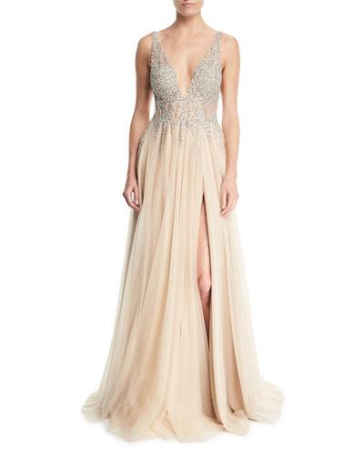Sleeveless High-Slit Embellished Bodice Evening Gown