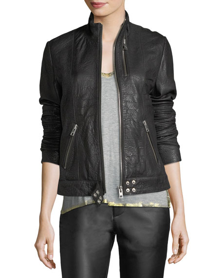Loup Leather Motorcycle Jacket w/ Graphic Print