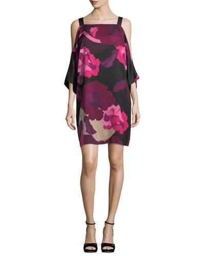 Trina Turk Laurel Floral-Print Cold-Shoulder Dress