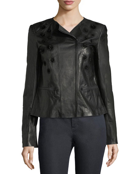 Lafayette 148 New York Caridee Floral-Appliqu?? Leather Jacket