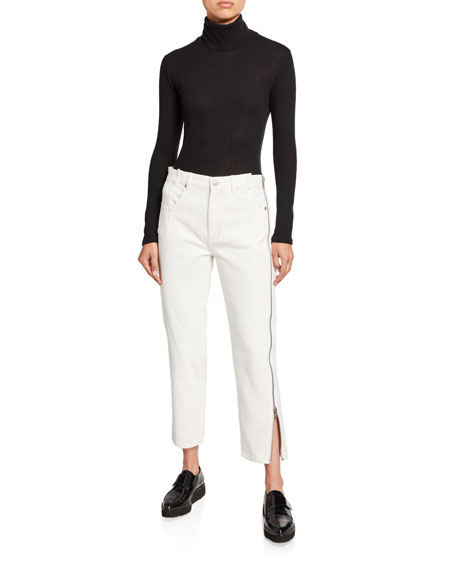 3.1 Phillip Lim Straight-Leg Cropped Jeans with Side Zipper Detail