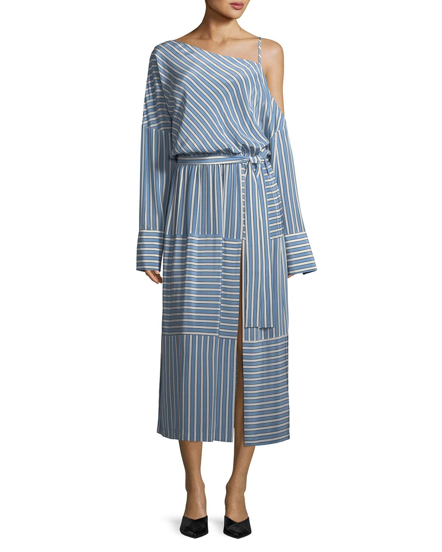 2f2545c404 Robert Rodriguez Cold-Shoulder Striped Silk Satin Long Dress ...