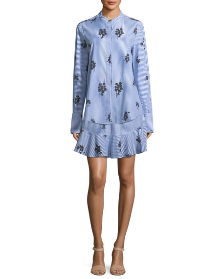 Derek Lam 10 Crosby 2-in-1 Striped Floral-Print Shirtdress with Flounce Hem