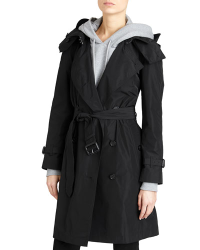 Amberford Packaway Rain Trench Coat  Black