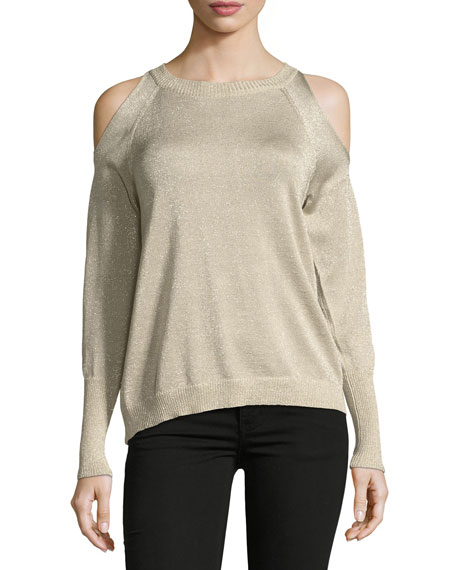 Tasha Cold-Shoulder Metallic Sweater