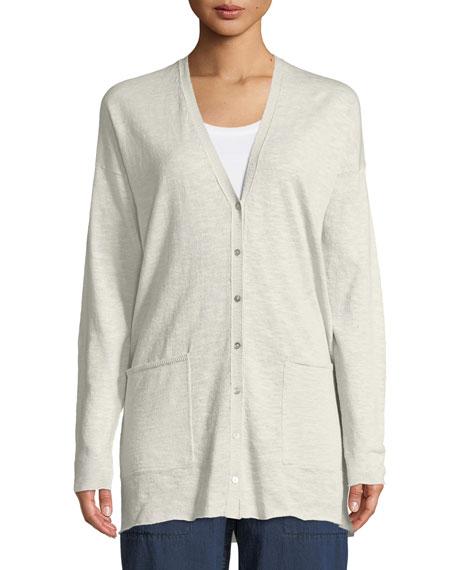 Linen-Blend Button-Front Slub Cardigan