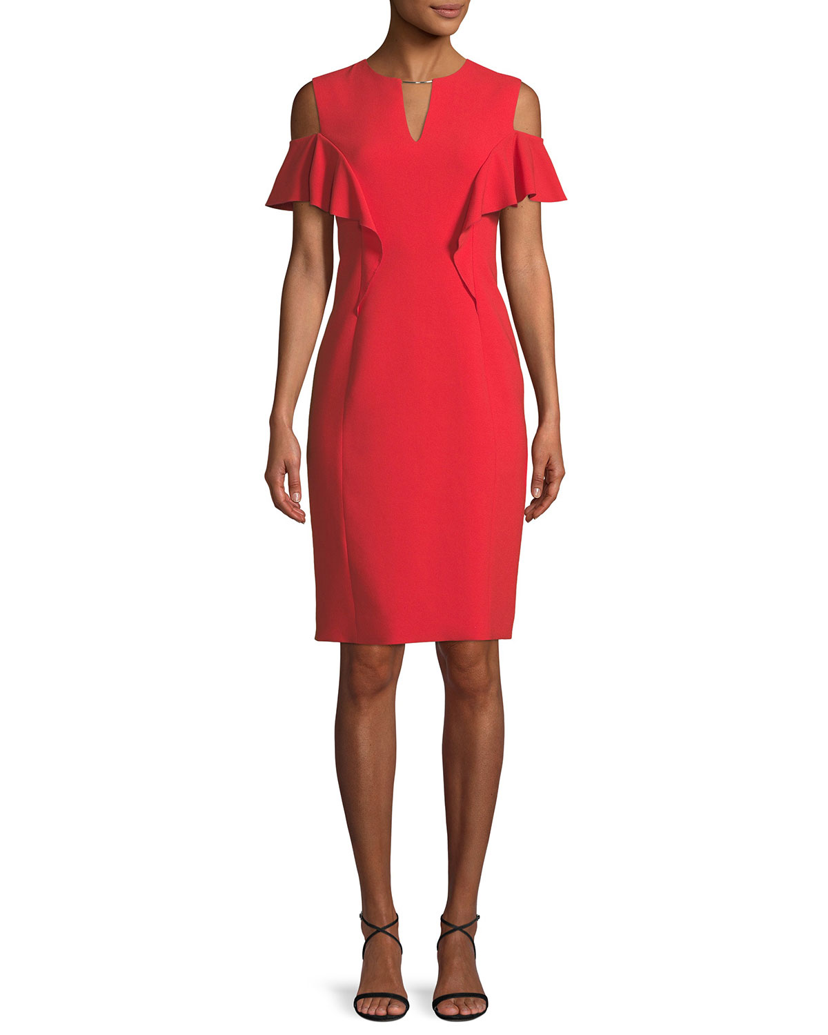 9455b2e05970 Elie Tahari Johari Ruffle-Sleeve Sheath Dress | Neiman Marcus