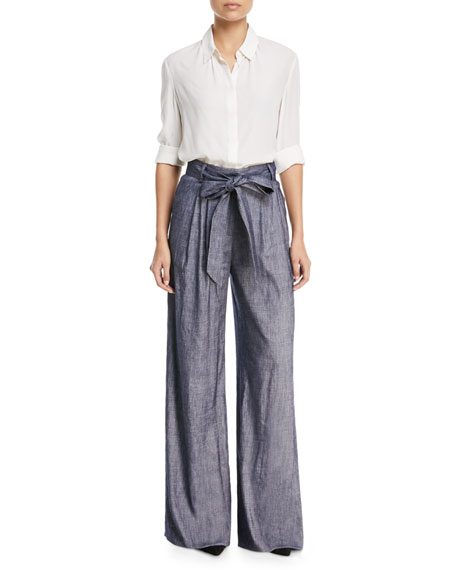 Stretch Self-Tie Trapunto Pants