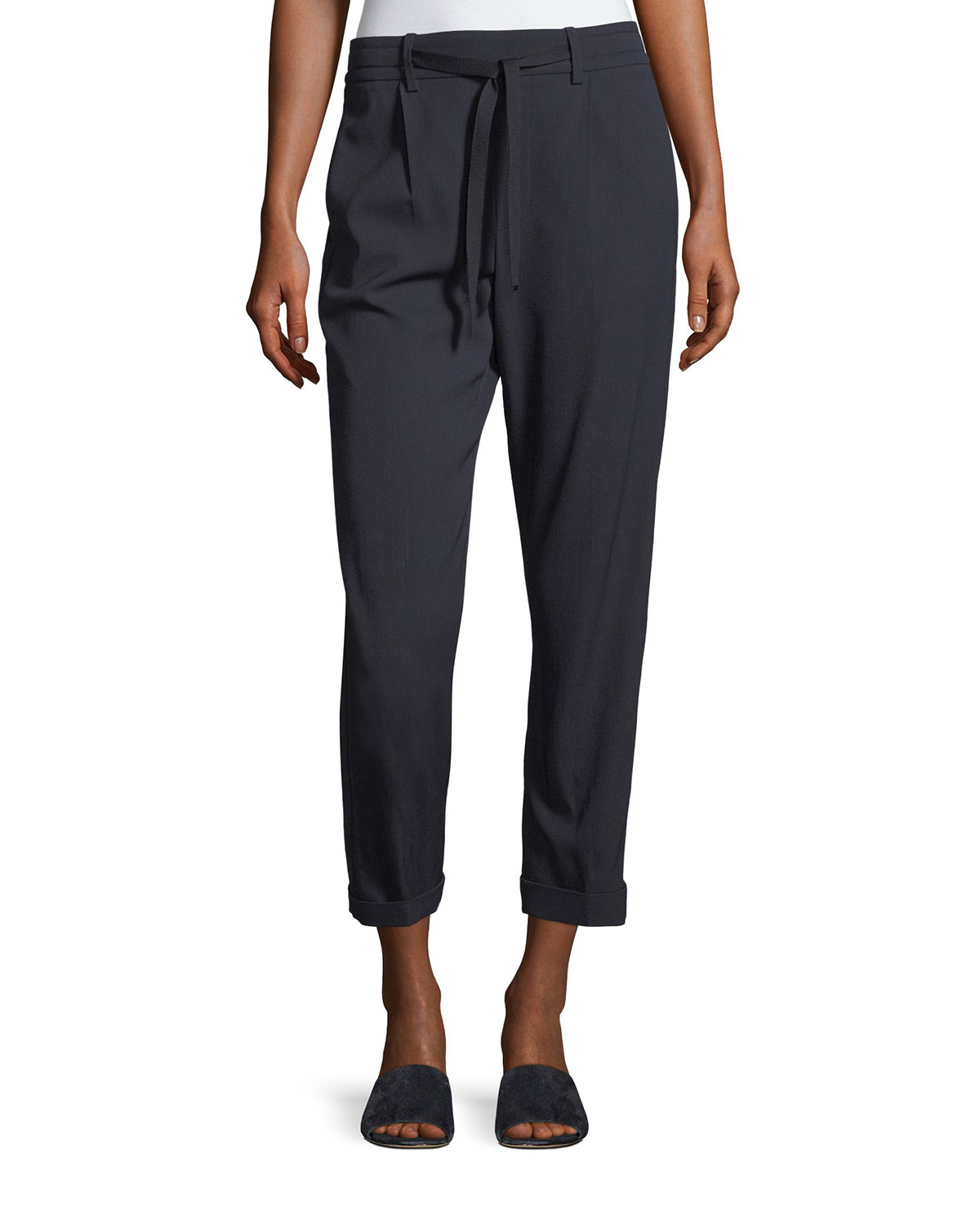 Vince Self Tie Side Strap Cropped Jogger Pants Neiman Marcus