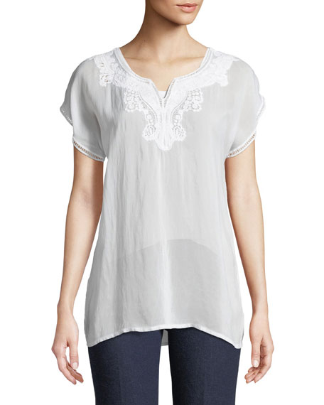 Image 1 of 2: Navi Embroidered Top