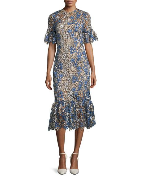 Keiko Multi-Floral Flounce-Hem Dress