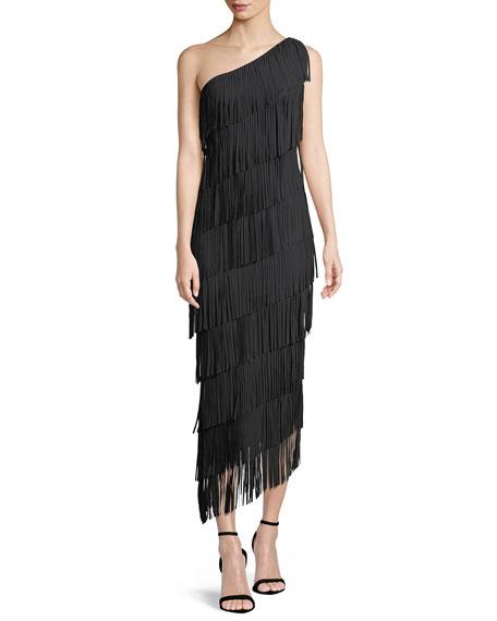 Lula Tiered Fringe One-Shoulder Gown