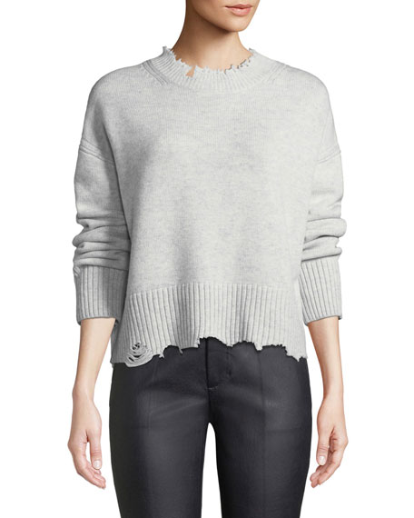 Distressed Crewneck Pullover Sweater