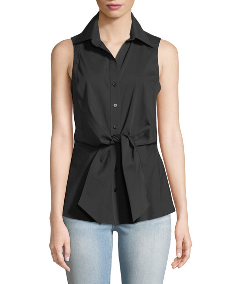Finley Walter Sleeveless Tie-Front Blouse