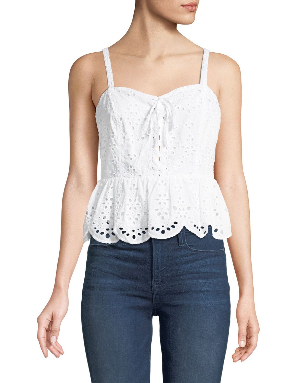 19344add29 Cupcakes and Cashmere Beverli Lace-Up Eyelet Top | Neiman Marcus