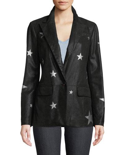 Star-Printed Suede Blazer