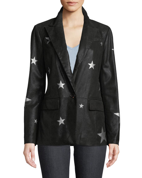 Neiman Marcus Leather Collection Star-Printed Suede Blazer