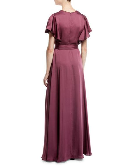 Neve Side Twist Satin Dress