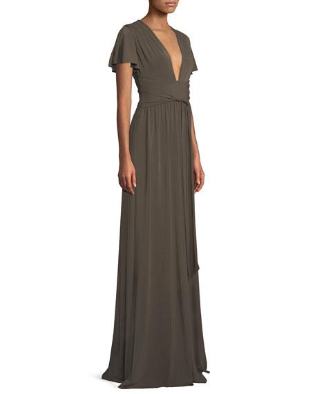 Halston Heritage Jersey Flutter-Sleeve Wrap Gown