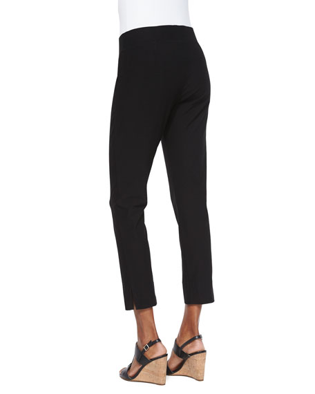 Washable Stretch Crepe Cropped Pants