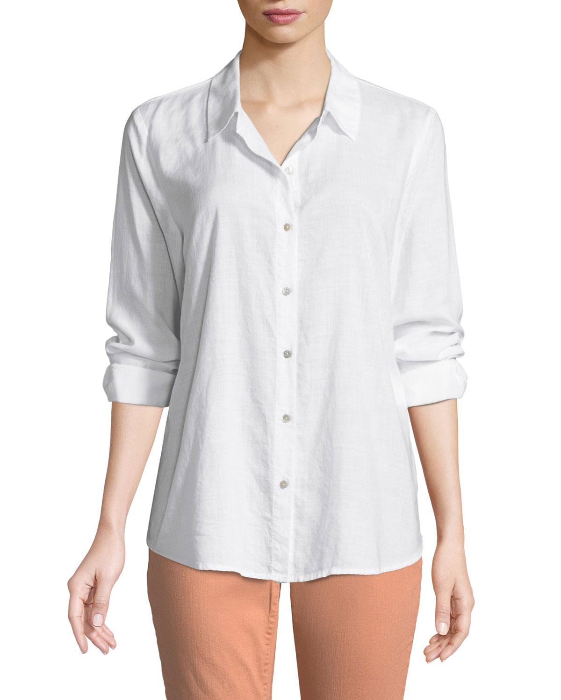 9e3de00252d Eileen Fisher Plus Size Crosshatch Classic Button-Front Shirt ...