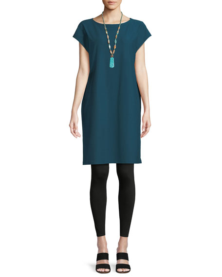 Short-Sleeve Stretch Crepe Tunic