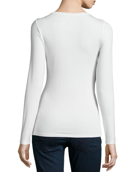 Soft Touch Flat-Edge Long-Sleeve Crewneck Top