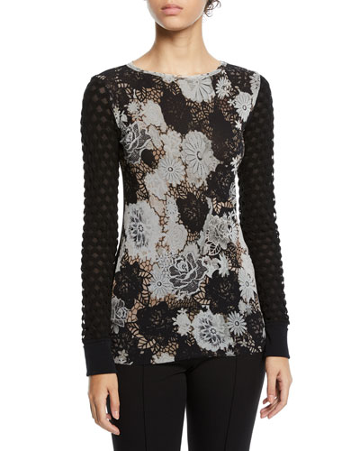 Floral-Lace Textured-Sleeve Top