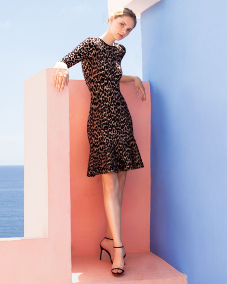 Milly Textured Leopard Animal-Print Mermaid Midi Dress