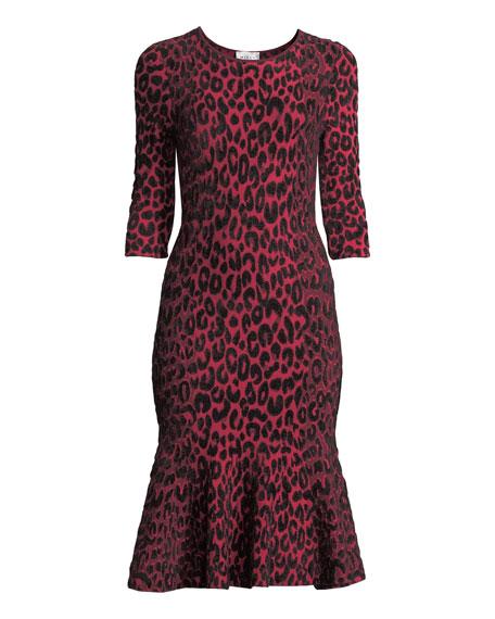 Textured Leopard Animal-Print Mermaid Midi Dress