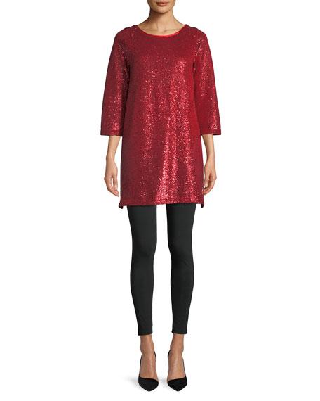 Joan Vass Easy 3/4-Sleeve Sequin Tunic