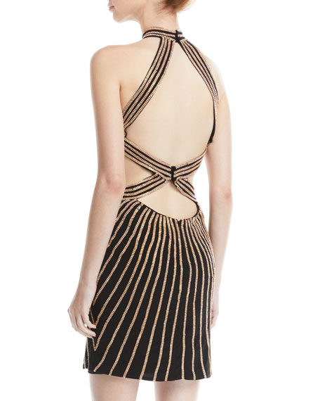 Image 2 of 2: Jovani Striped Halter Dress w/ Cutouts
