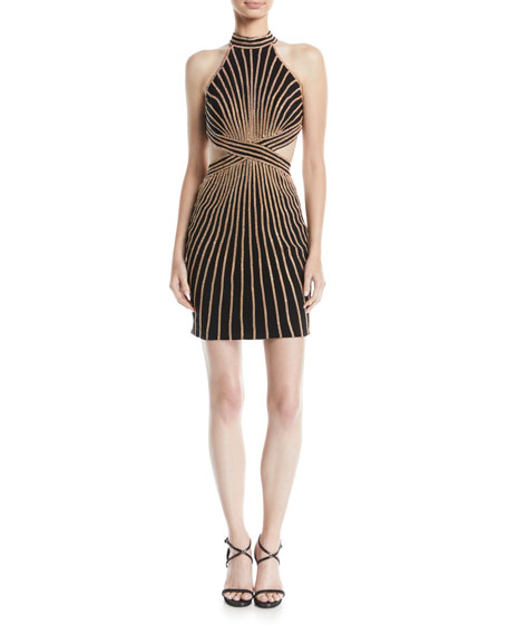 Image 1 of 2: Jovani Striped Halter Dress w/ Cutouts