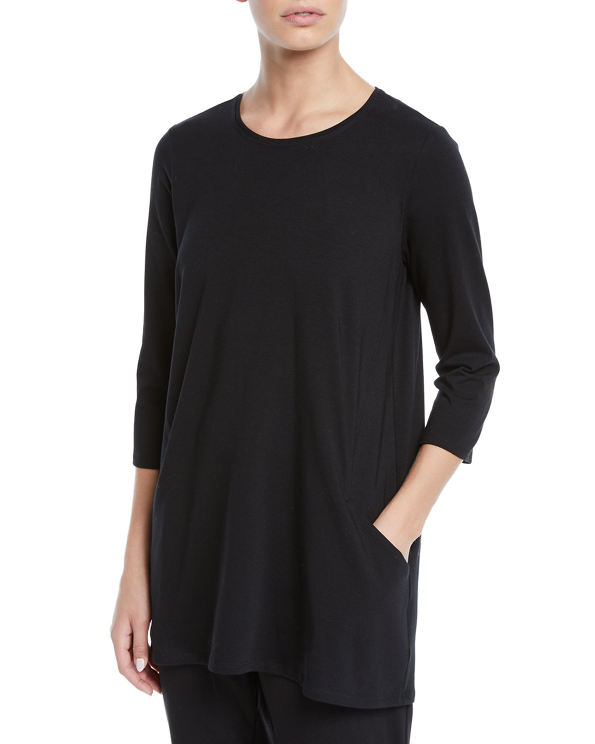 afd048675555c Eileen Fisher 3 4-Sleeve Organic Cotton Jersey Tunic with Pockets ...